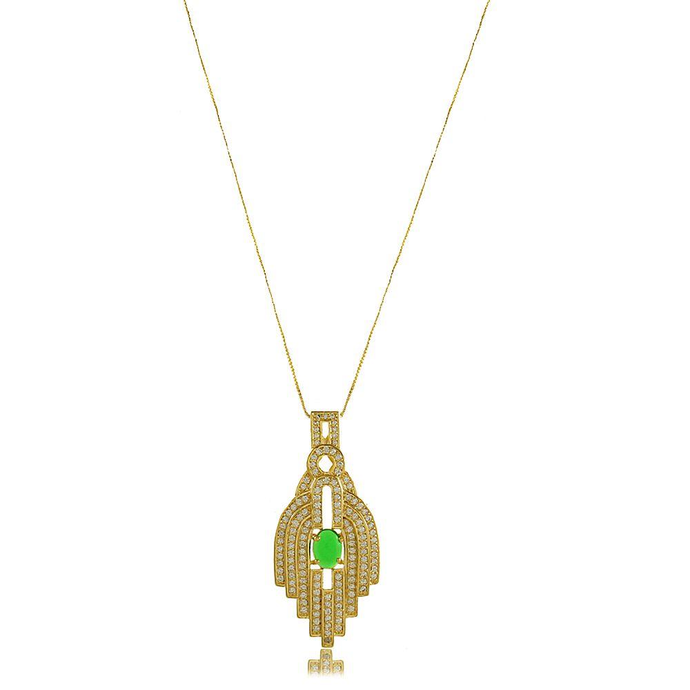 Colar Hamsá com Pedra Verde com Zircônia  Folheado a Ouro 18K