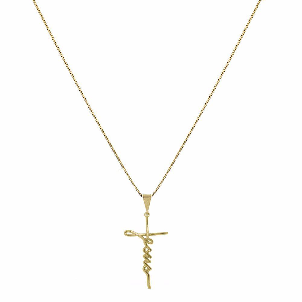 Colar Jesus em Crucifixo Médio Folheado a Ouro 18K