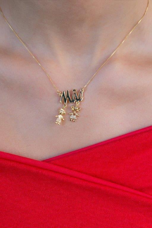 Colar Mãe Personalizado com Dois Pingentes Folheado a Ouro 18K