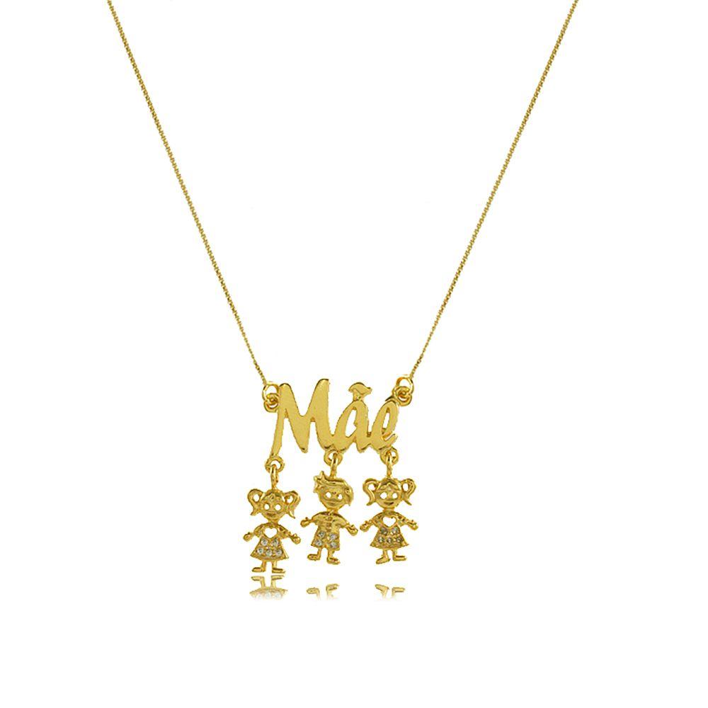 Colar Mãe Personalizado com Três Pingentes Folheado a Ouro 18K