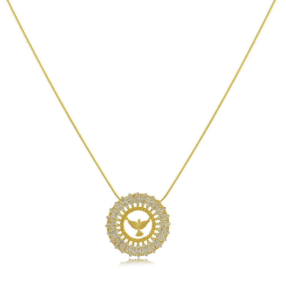 Colar Mandala Divino Espirito Santo com Zircônia Folheado a Ouro 18K