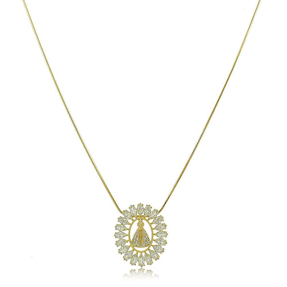 Colar Mandala Nossa Senhora Aparecida com Zircônia Folheado Ouro 18K
