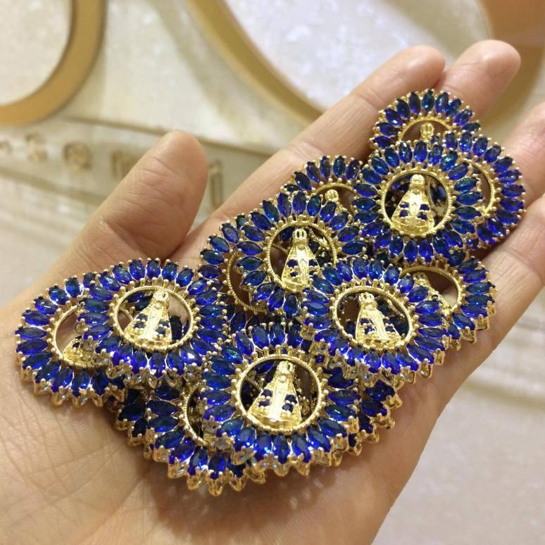 Colar Mandala Nossa Senhora Aparecida com Zircônias Azuis Folheado a Ouro 18K