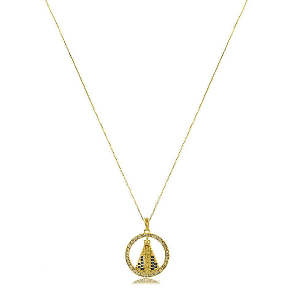 Colar Mandala Nossa Senhora Aparecida com Zircônias Folheado a Ouro 18K