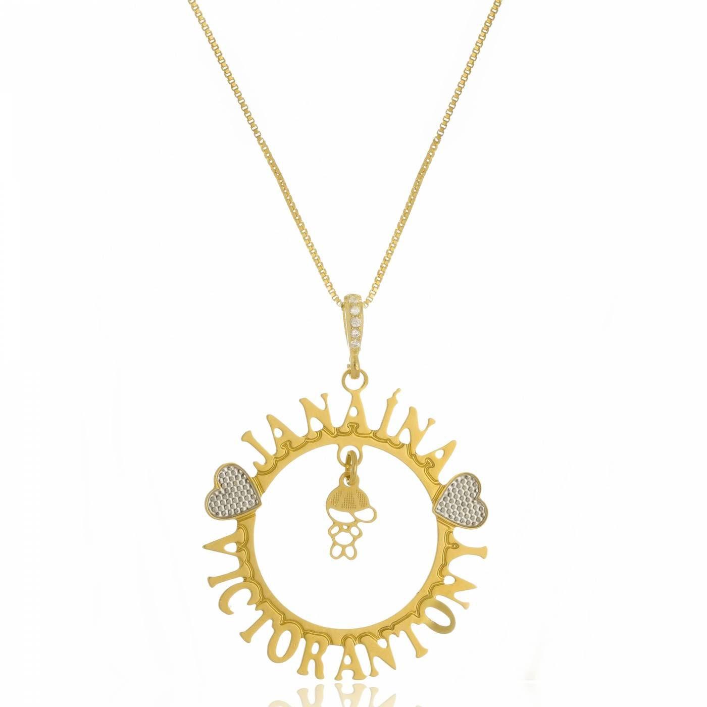 Colar Mandala Personalizado com Um Pingente Folheado a Ouro 18K