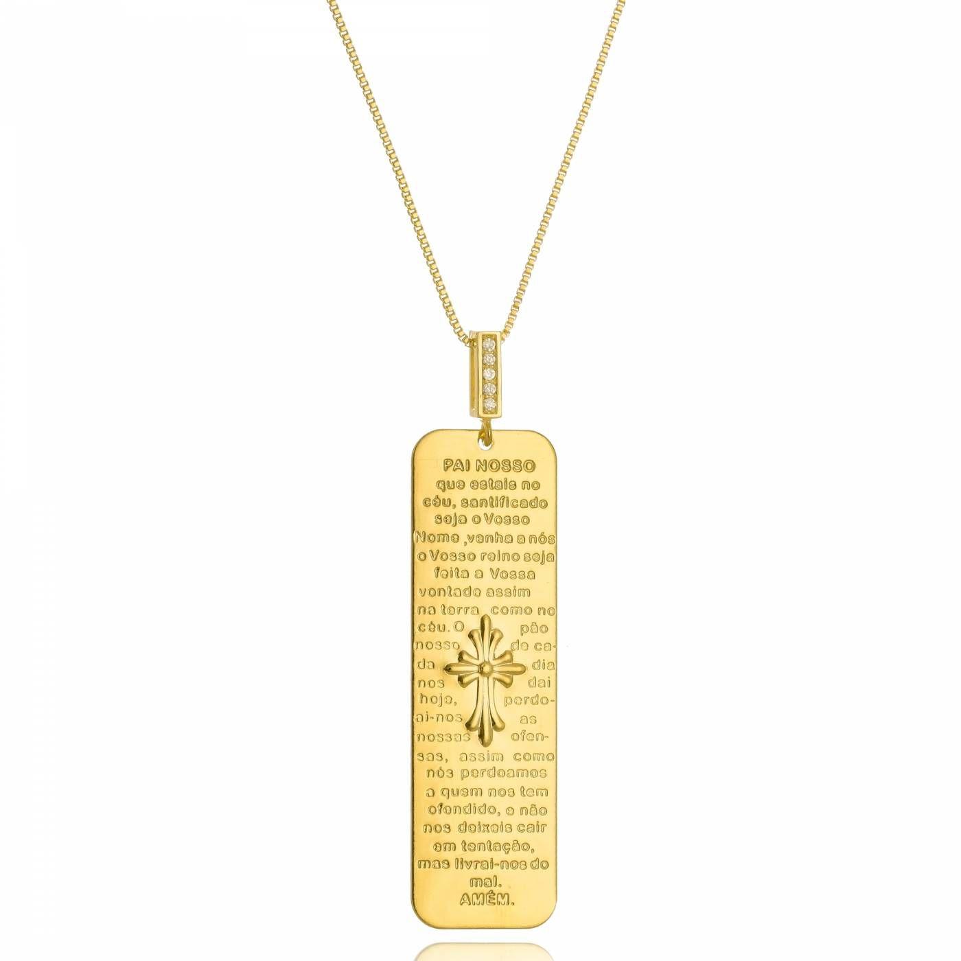 Colar Medalha Vertical com Oração Pai Nosso Folheado a Ouro 18K