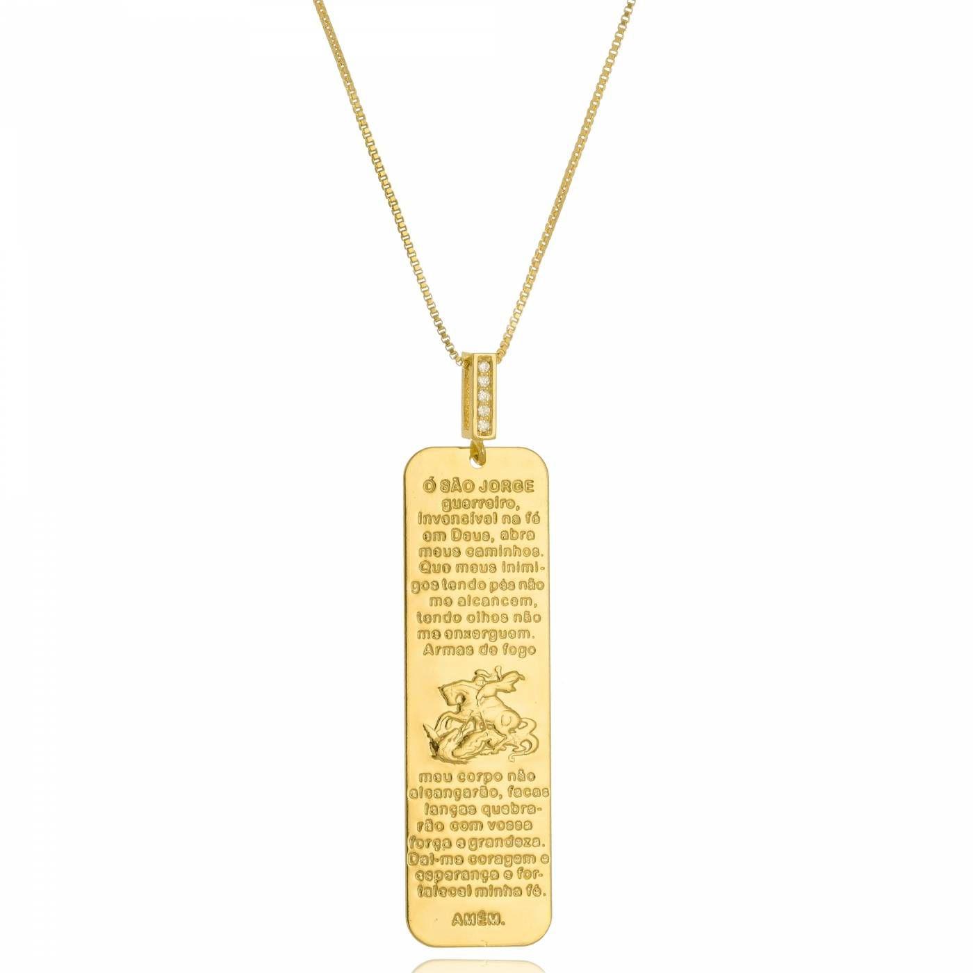Colar Medalha Vertical São Jorge Folheado a Ouro 18K