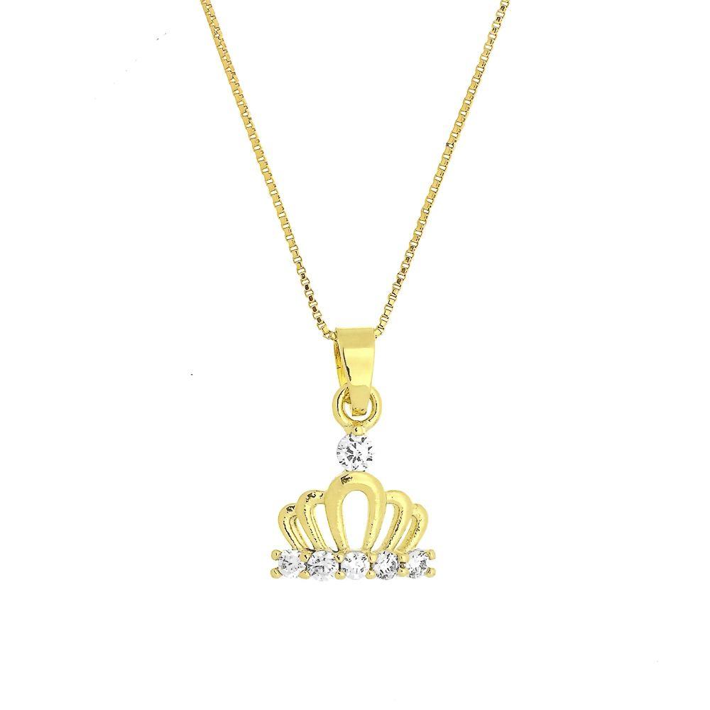 Colar Mini Coroa com Zircônias Folheado a Ouro 18K