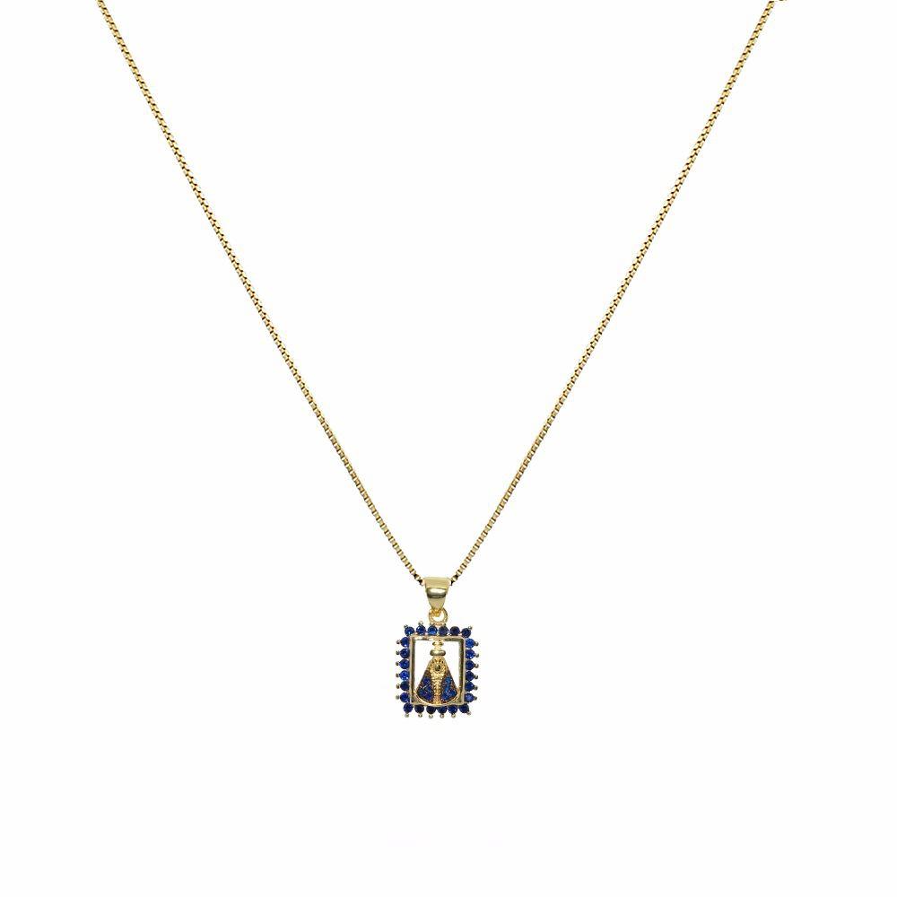 Colar Mini Medalha Nossa Senhora Aparecida com Zircônias Folheado a Ouro 18K