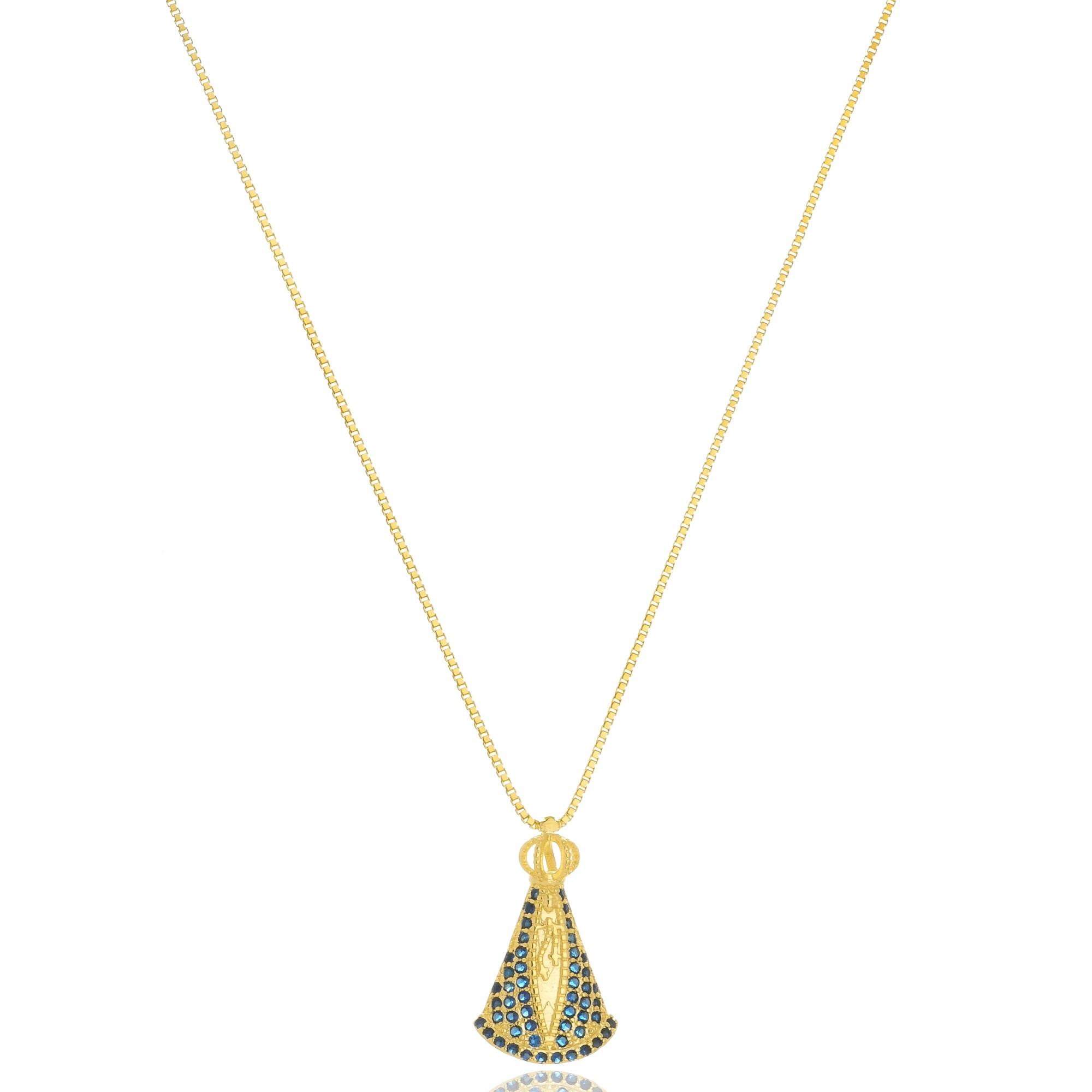 Colar Nossa Senhora Aparecida com zircônias azuis folheado a ouro 18K