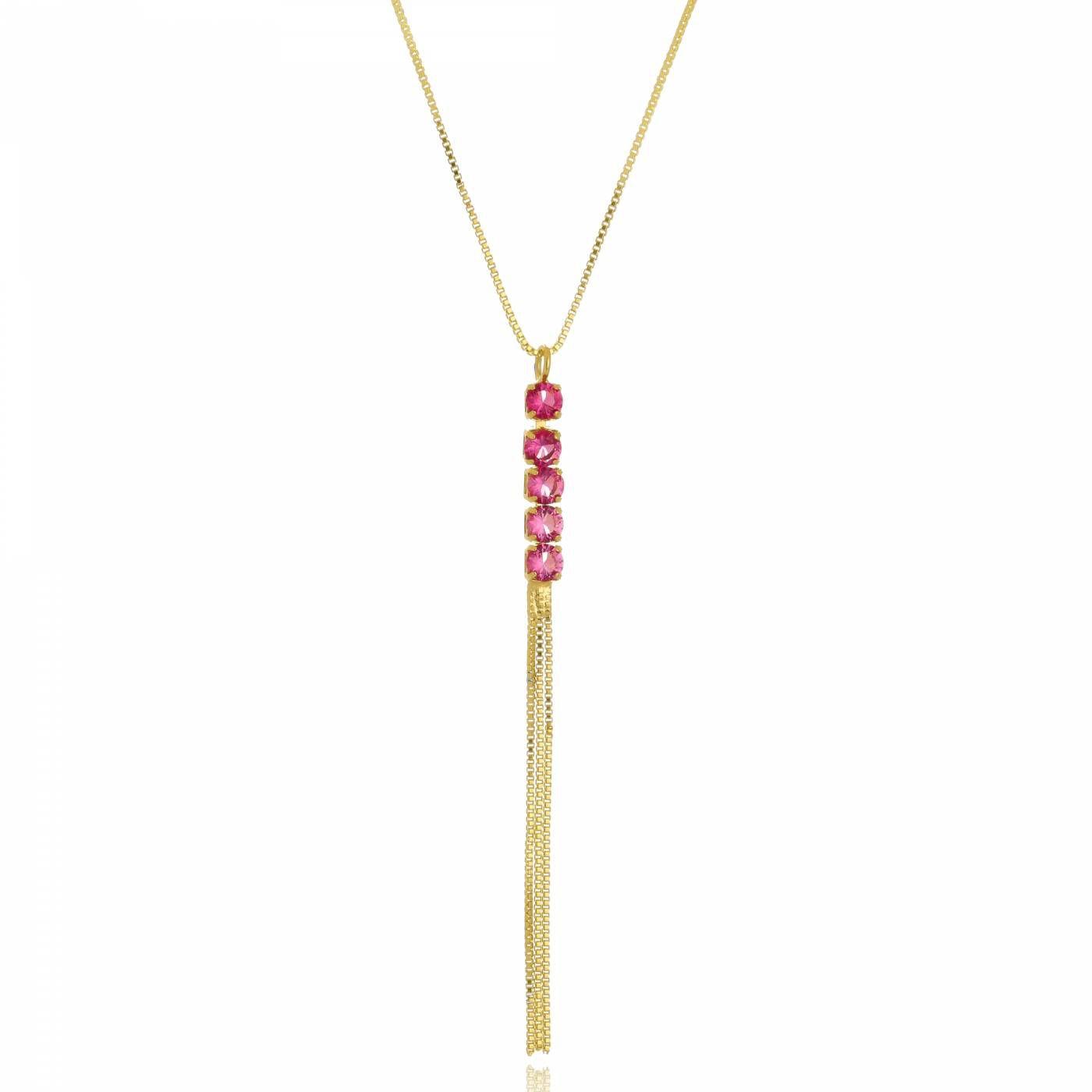 Colar Pêndulo em Zircônias Rosa Folheado a Ouro 18K