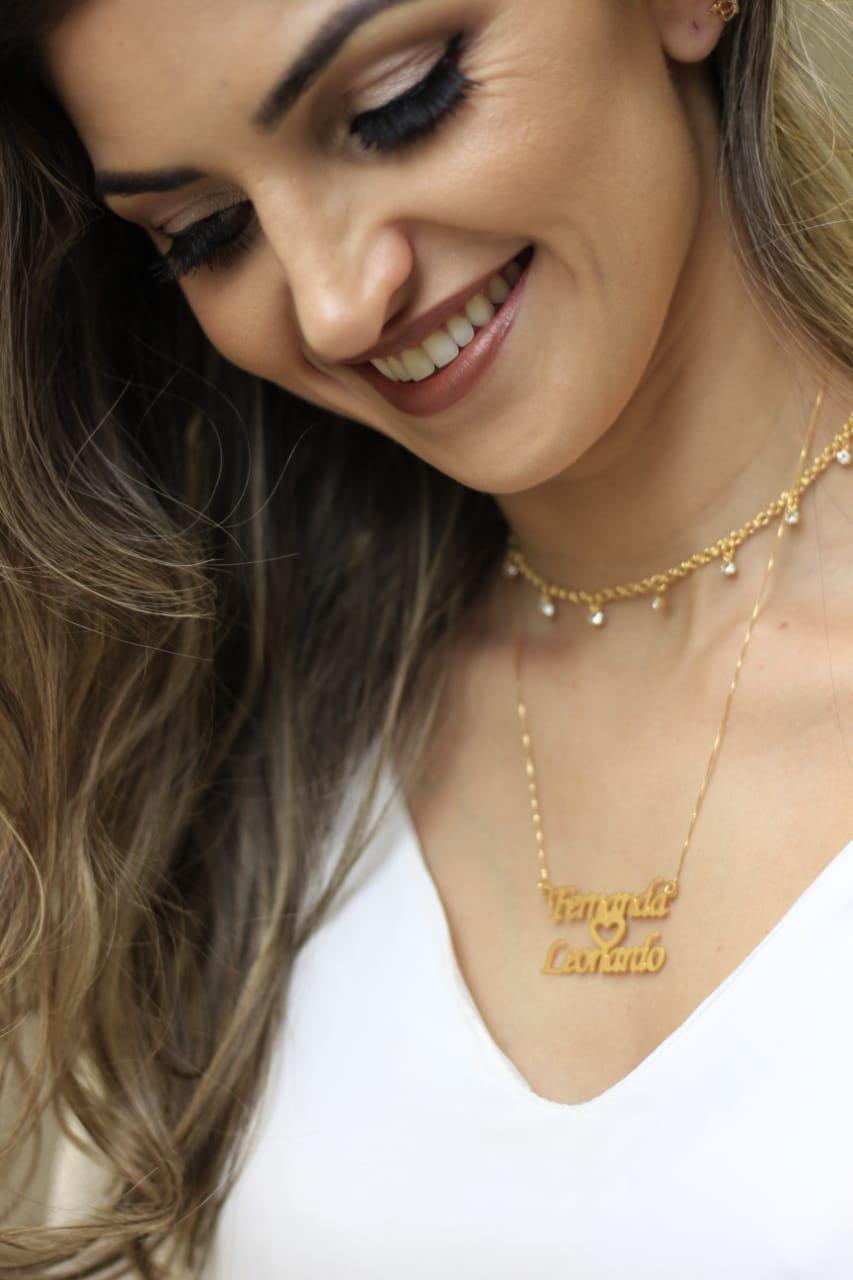Colar Personalizado Dois Nomes com Coração Folheado a Ouro ou Prata