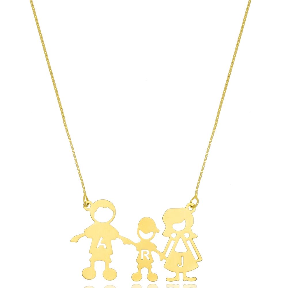 Colar Personalizado Família com Três Pessoas Folheado a Ouro ou Prata