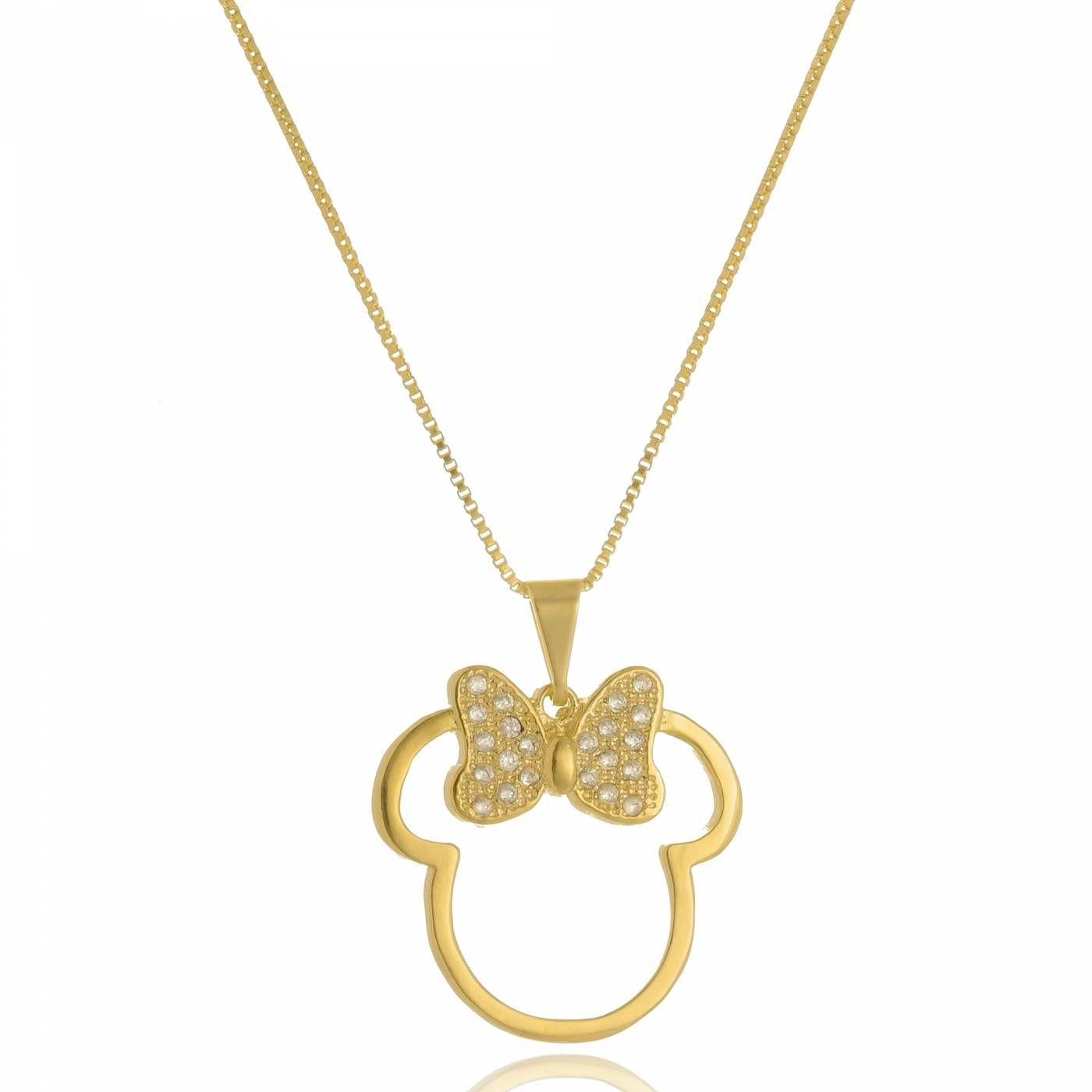 Colar Minnie com Mini Zircônias Folheado a Ouro 18K