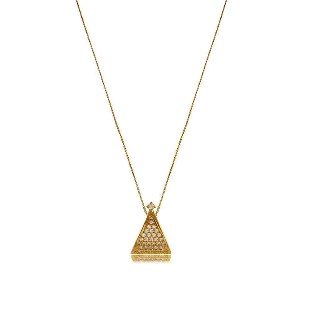 Colar Triângulo com Mini Zircônias Cravejadas Folheado a Ouro 18K