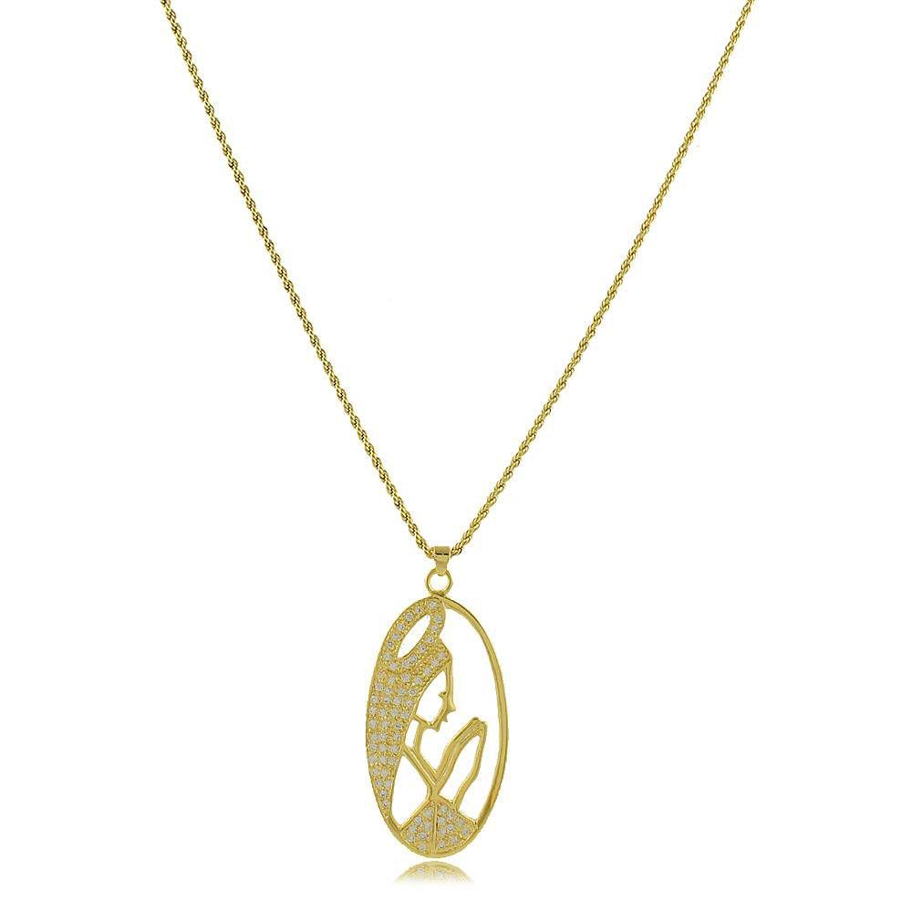 Colar Virgem Maria com Mini Zircônias Cravejadas Folheado a Ouro 18K