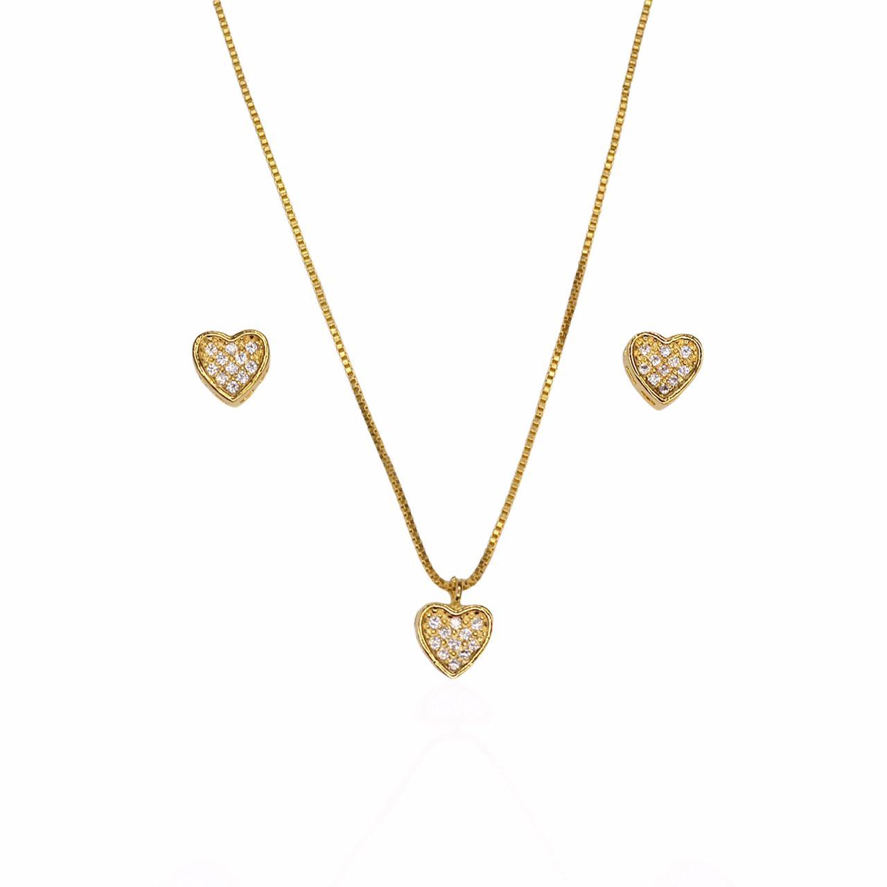 Conjunto colar e brinco coração com zircônias folheado a ouro 18K