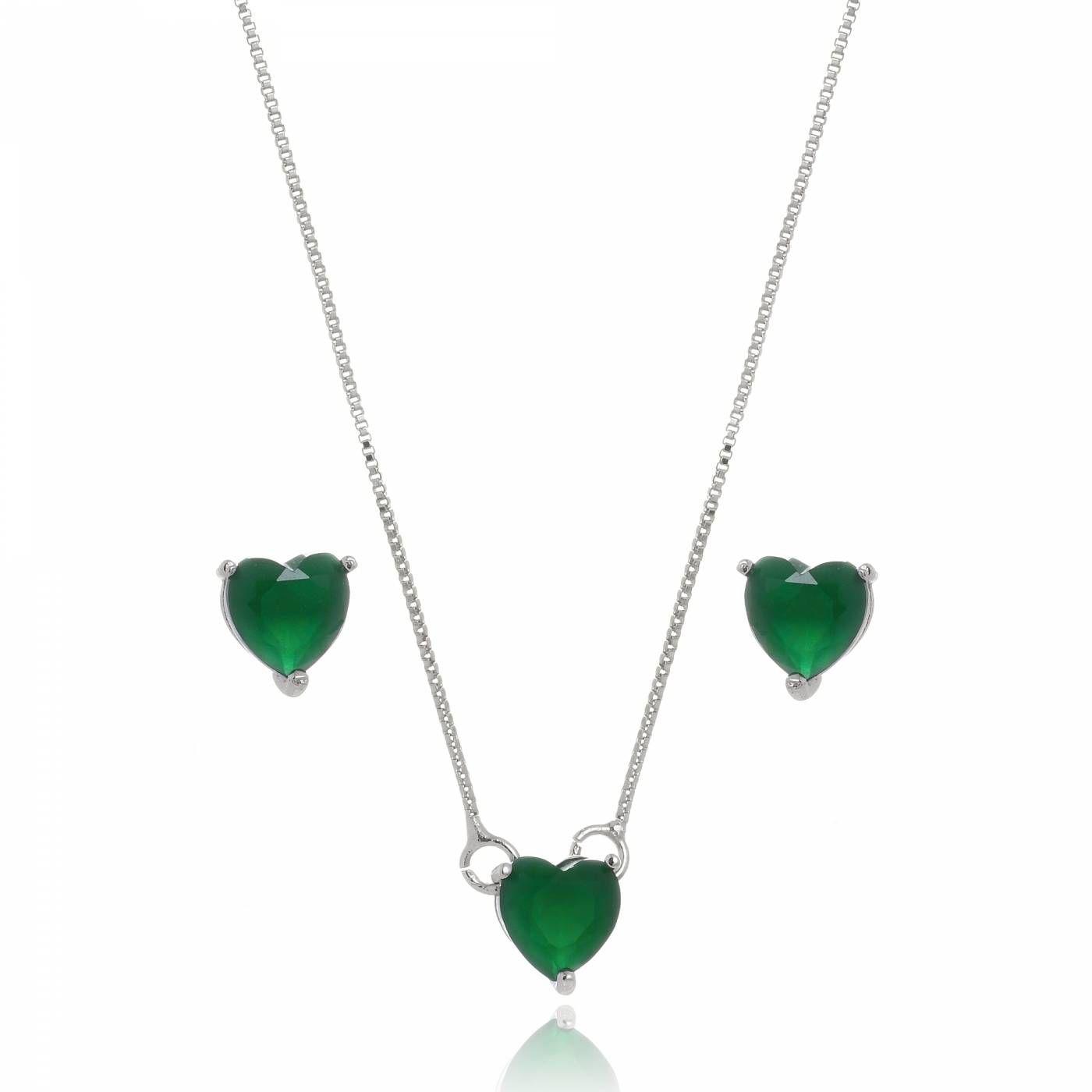 Conjunto Colar e Brinco Coração Verde Folheado em Ródio Branco