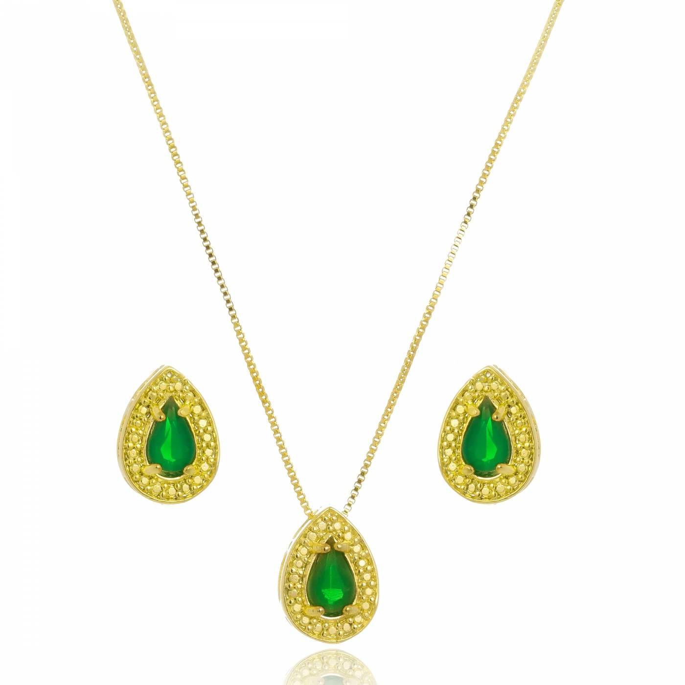 Conjunto Colar e Brinco Gota com Cristal Verde Folheado a Ouro 18K