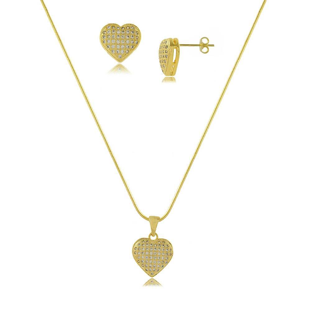Conjunto Colar e Brinco Maxi Coração em Zircônias Cravejadas Folheado a Ouro 18K