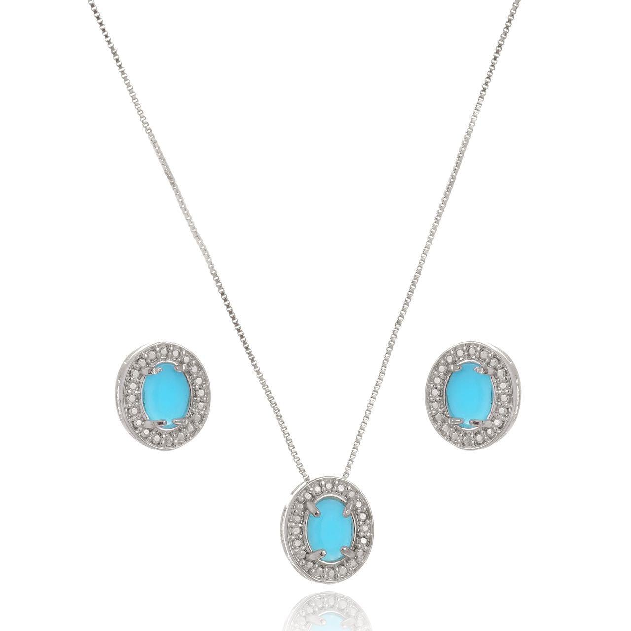 Conjunto Colar e Brinco Oval com Cristal Azul Folheado em Ródio Branco