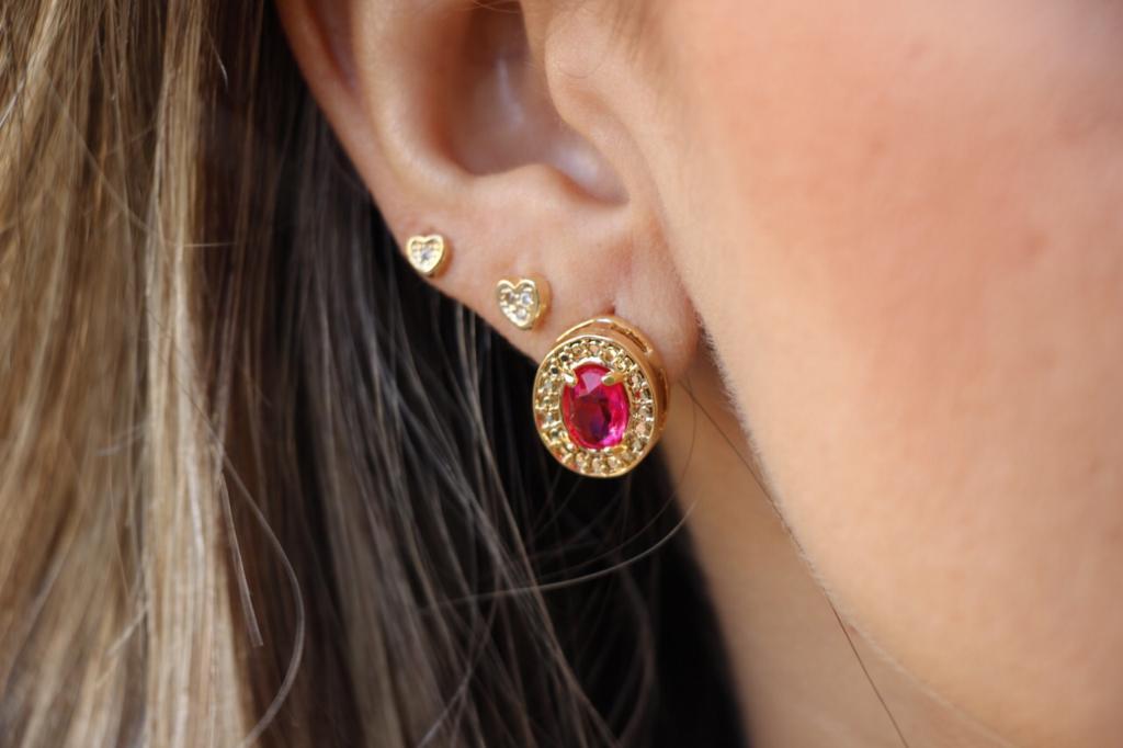 Conjunto Colar e Brinco Oval com Cristal Rosa Folheado a Ouro 18K