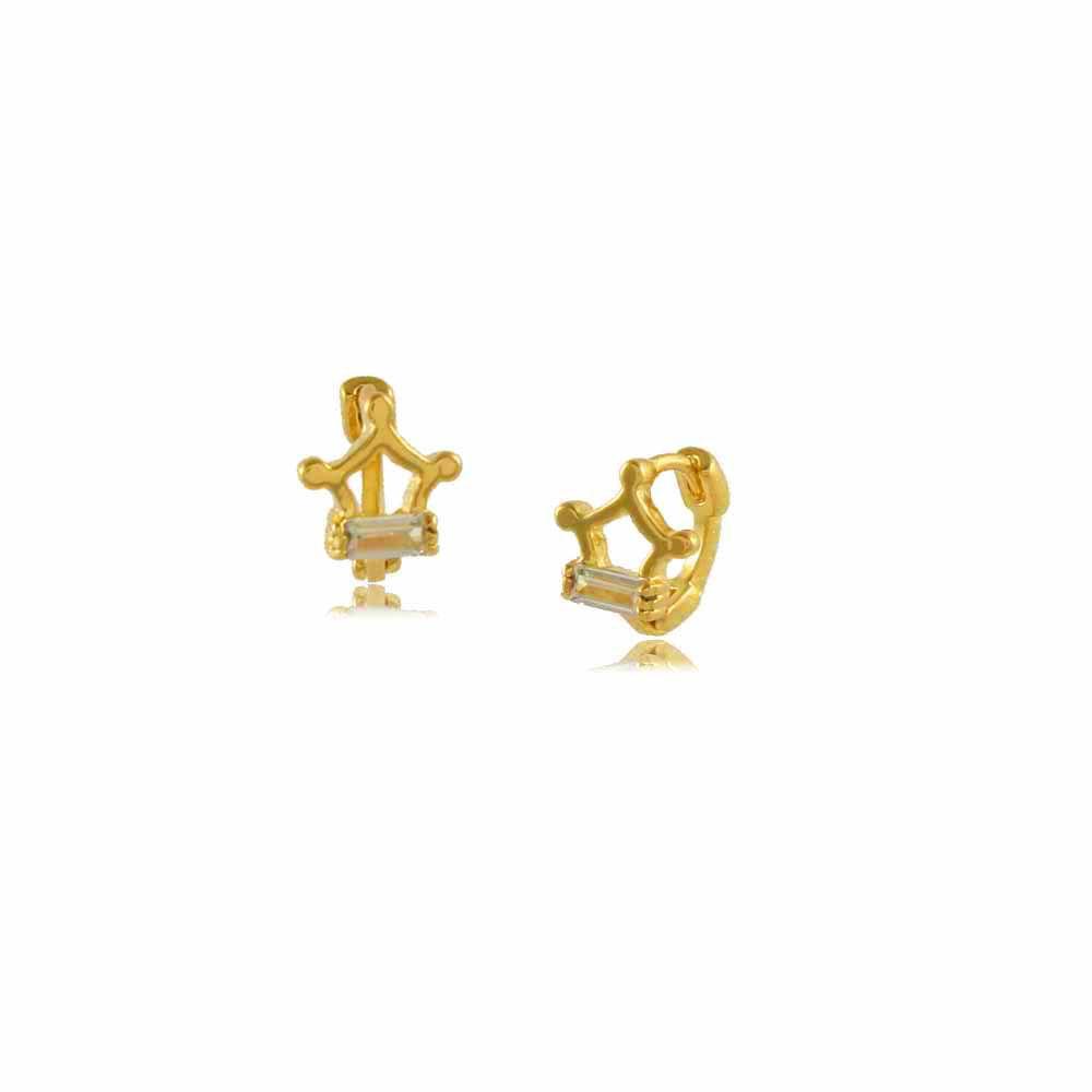 Mini Argola Coroa com Cristal Folheada a Ouro 18K