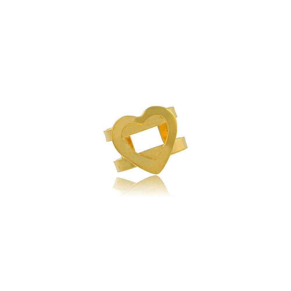 Piercing de Pressão Coração Vazado Folheado a Ouro 18K