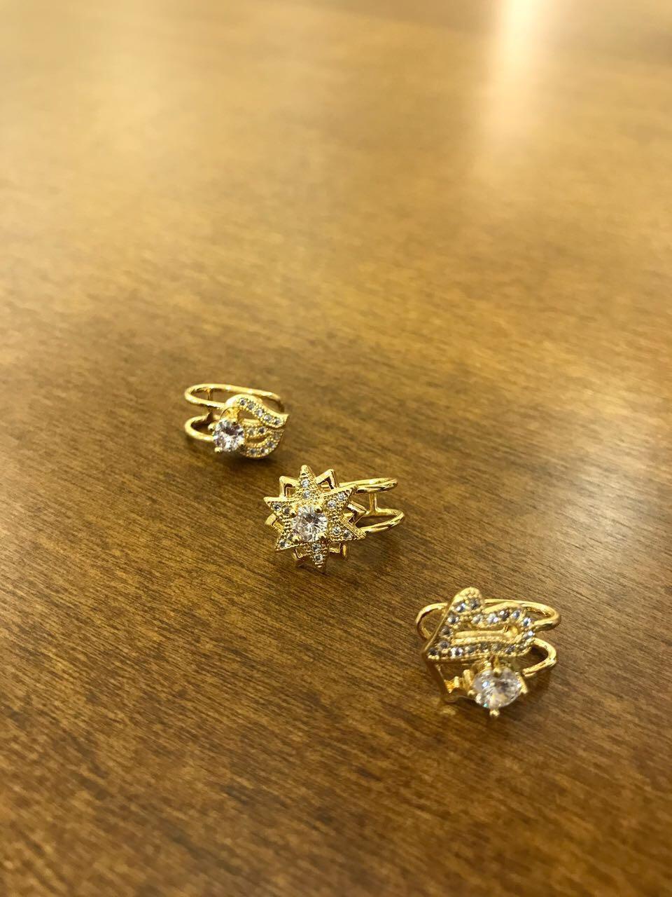Piercing de Pressão Estrela com Mini Zircônias Cravejadas Folheado a Ouro 18K