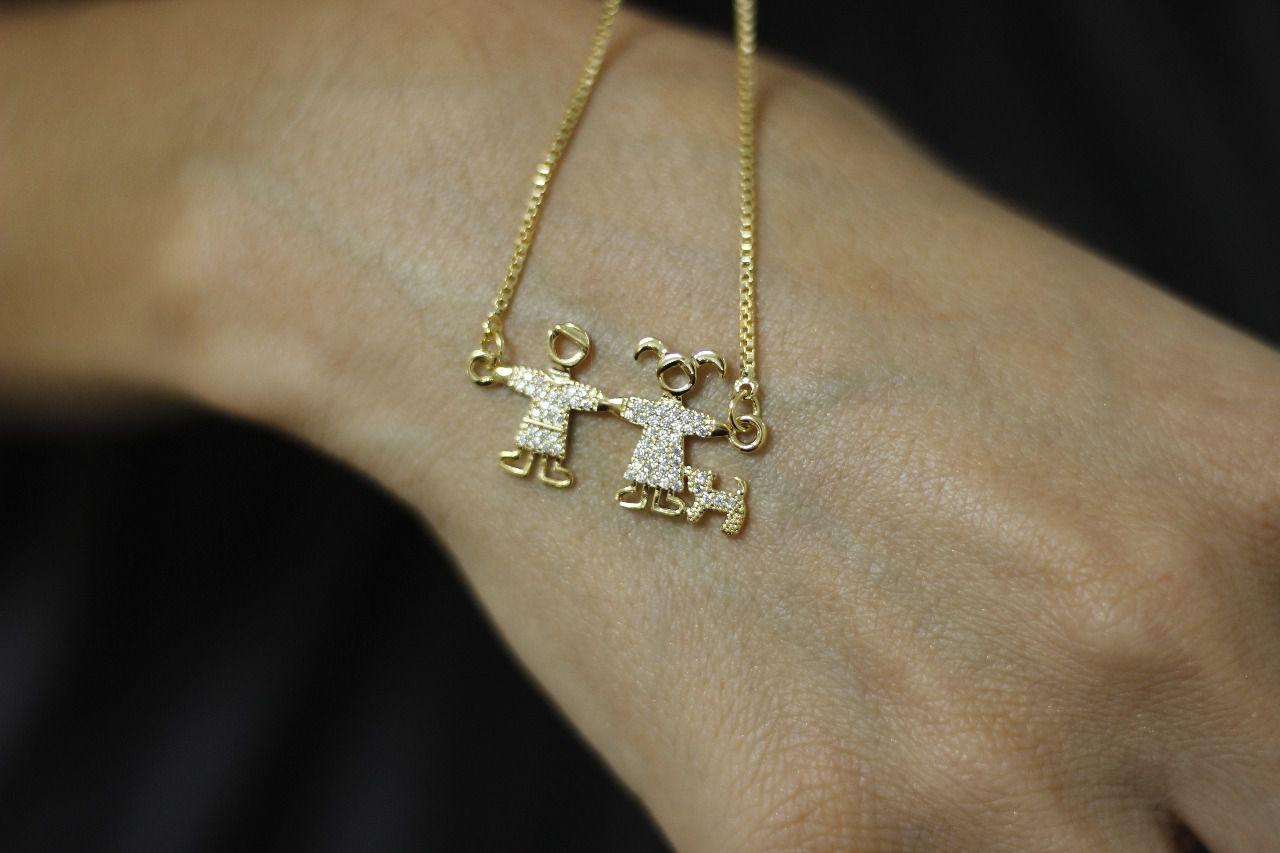 Pulseira Casal e Cachorro com Mini Zircônias Folheada a Ouro 18K