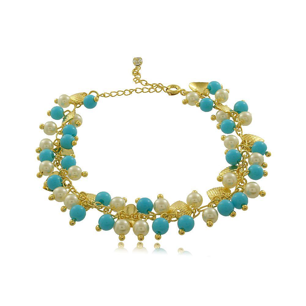 Pulseira em Pedras Azuis com Pérolas Folheada a Ouro 18K