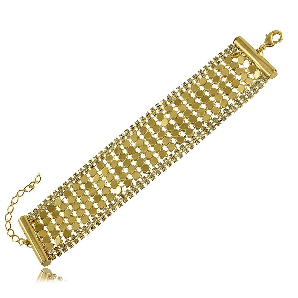 Pulseira Estilo Bracelete com Detalhes em Strass Folheada a Ouro 18K