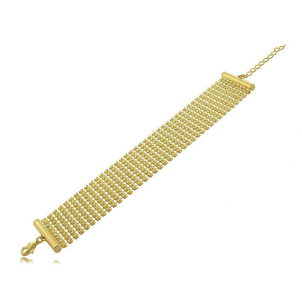 Pulseira Estilo Bracelete Rendada Folheada a Ouro 18K