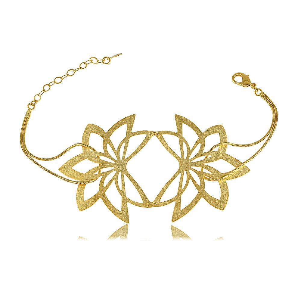 Pulseira Flor com Corrente Entrelaçada Folheada a Ouro 18K
