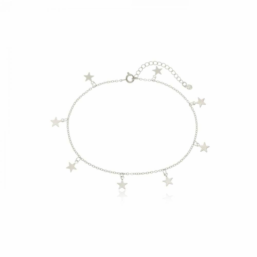 Tornozeleira Estrelas Folheada em Ródio Branco