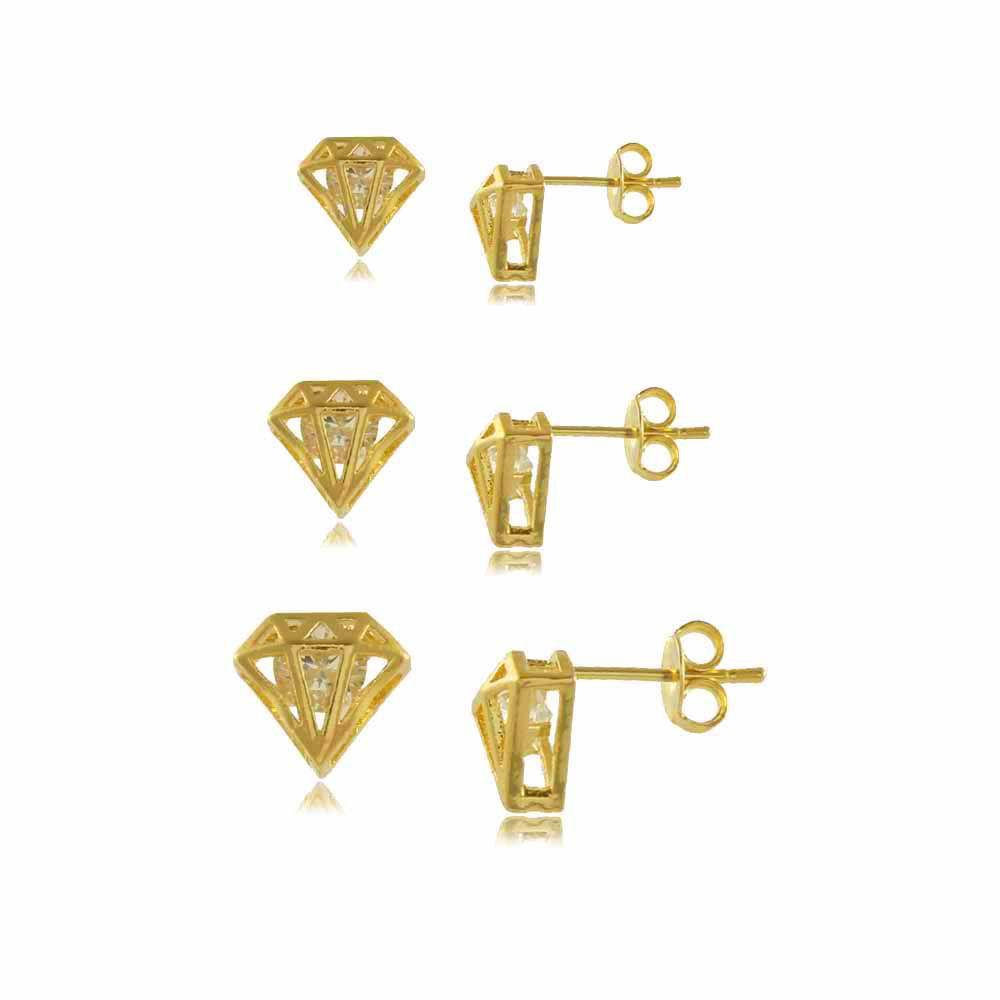 Trio de Brincos Diamante com Zircônia Folheado a Ouro 18K