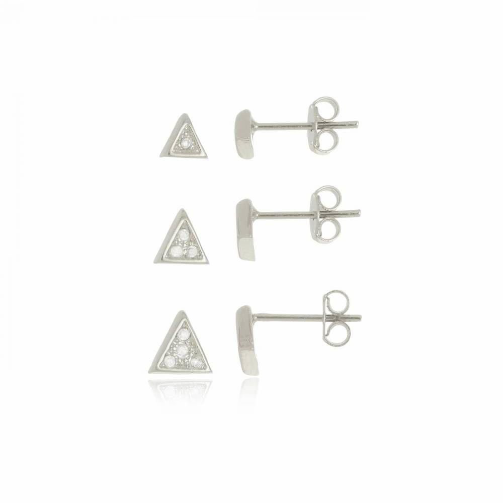 Trio de Brincos Triângulo Folheado em Ródio Branco