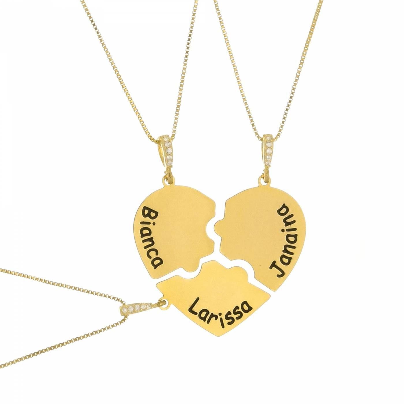 Trio de Colar Coração Personalizado com Nome Folheado a Ouro 18K