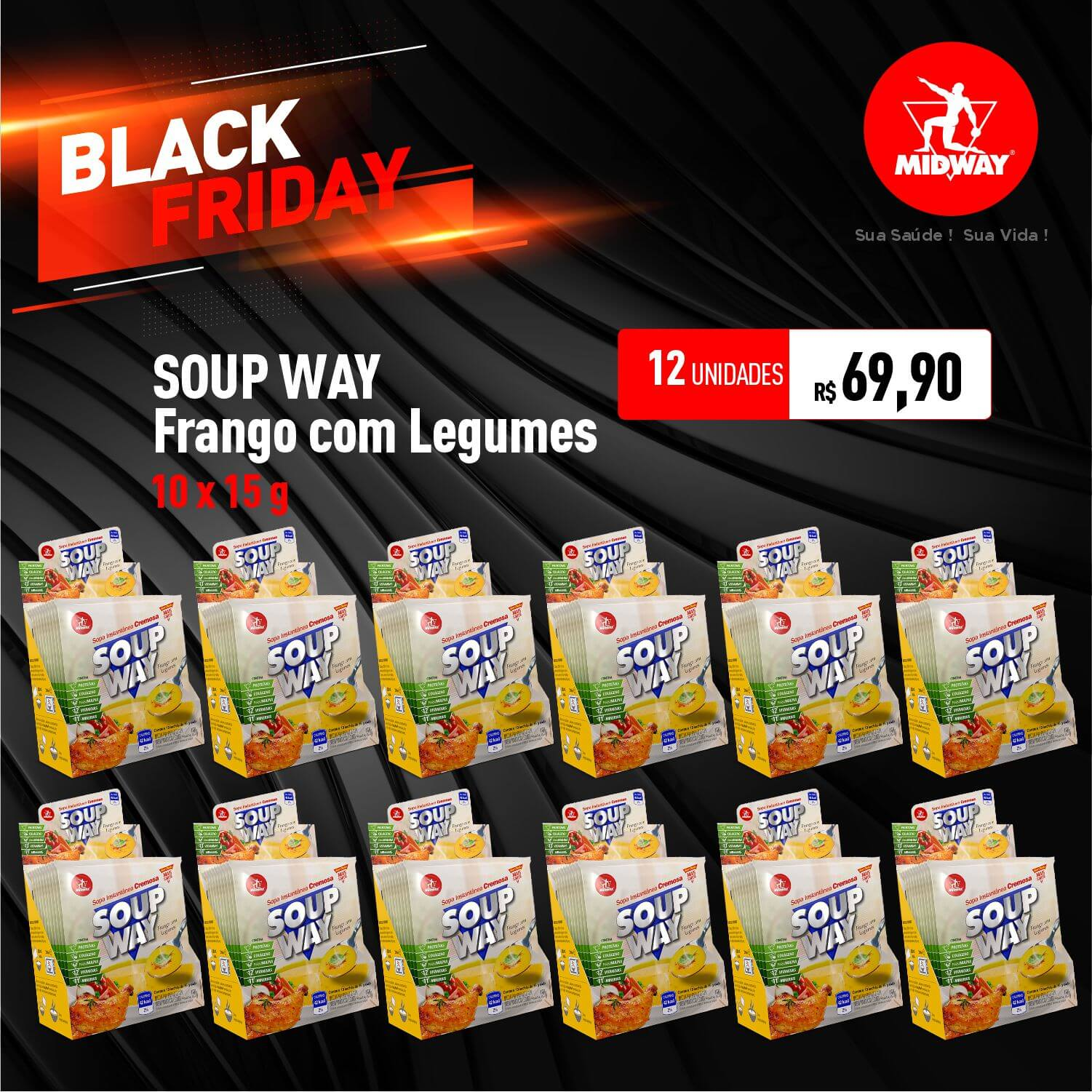 Kit 12 Soup Way • Frango com Legumes • 10 un x 15 g • Black Friday