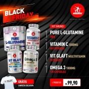 KIT • 1 GLUTAMINE + 1 VITAMIN C + 1 VIT GLAFT + 1 ÔMEGA • GANHE CAMISETA