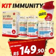 KIT IMMUNITY: 1 Kit Mix Proteico 400g + 1 Immuna Way Escudo Humano 100g + 2 Vit Glaft 30 cápsulas + GRÁTIS 1 Coqueteleira Midway