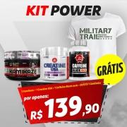 KIT POWER: 1 Pre Workout Kamikaze 300g + 1 Creatine USA 300g + 1 Caffeine Black Jack 90 cápsulas
