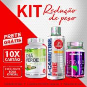 KIT REDUÇÃO DE PESO • Chá Verde 60 Caps + L-Carnitine Fire 240mL Tangerina + Redux Way 60 Caps