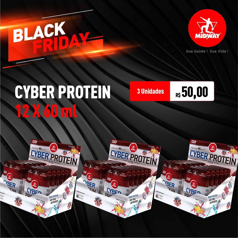 Kit 3 Cyber Protein • 12 unidades de 60 ml • Black Friday