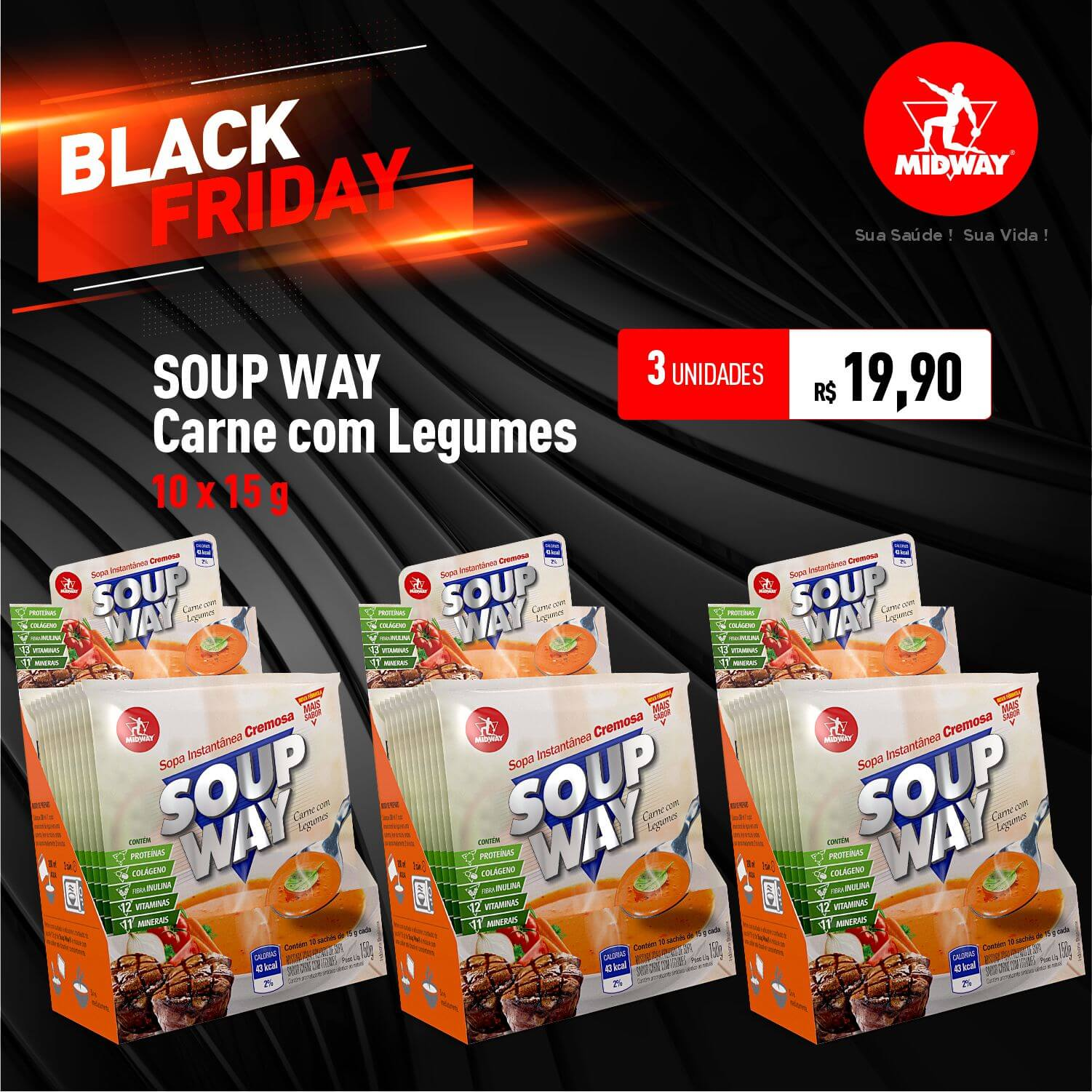 Kit 3 Soup Way • Carne com Legumes • 10 un x 15 g • Black Friday