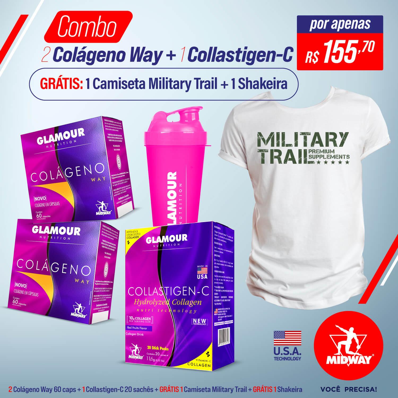 Combo 2 Colágeno Way 60 caps + 1 Collastigen C + Grátis 1 Camiseta Military Trail + Grátis 1 shakeira