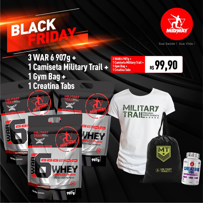 Combo 3 WAR 6 907g + 1 Camiseta Military Trail + 1 Gym Bag + 1 Creatina 120 Tabs • Black Friday