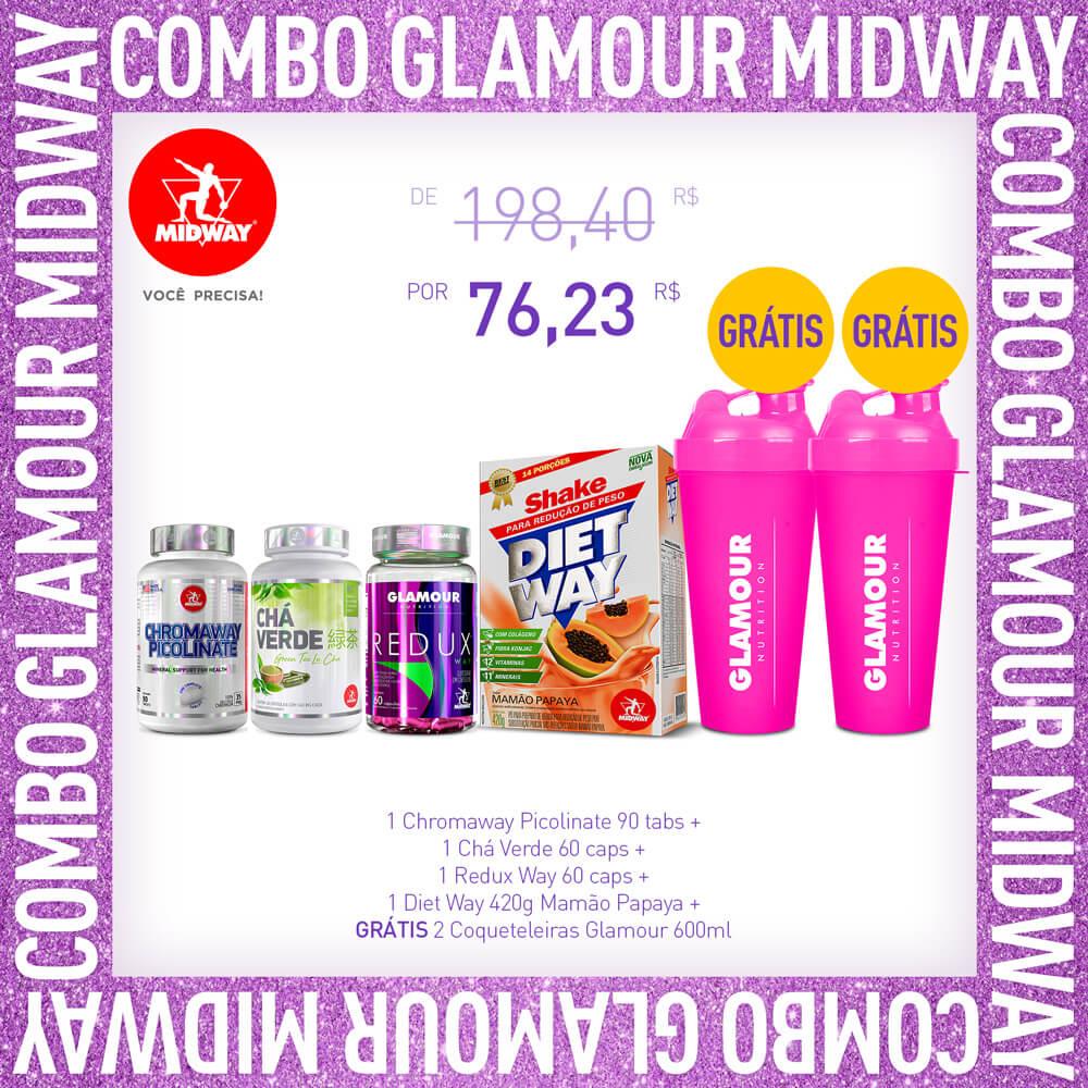Combo Glamour: 1 Chromaway Picolinate 90 tabs + 1 Chá Verde 60 caps + 1 Redux Way 60 caps + 1 Diet Way 420g Mamão Papaya + GRÁTIS 2 Coqueteleiras Glamour 600ml