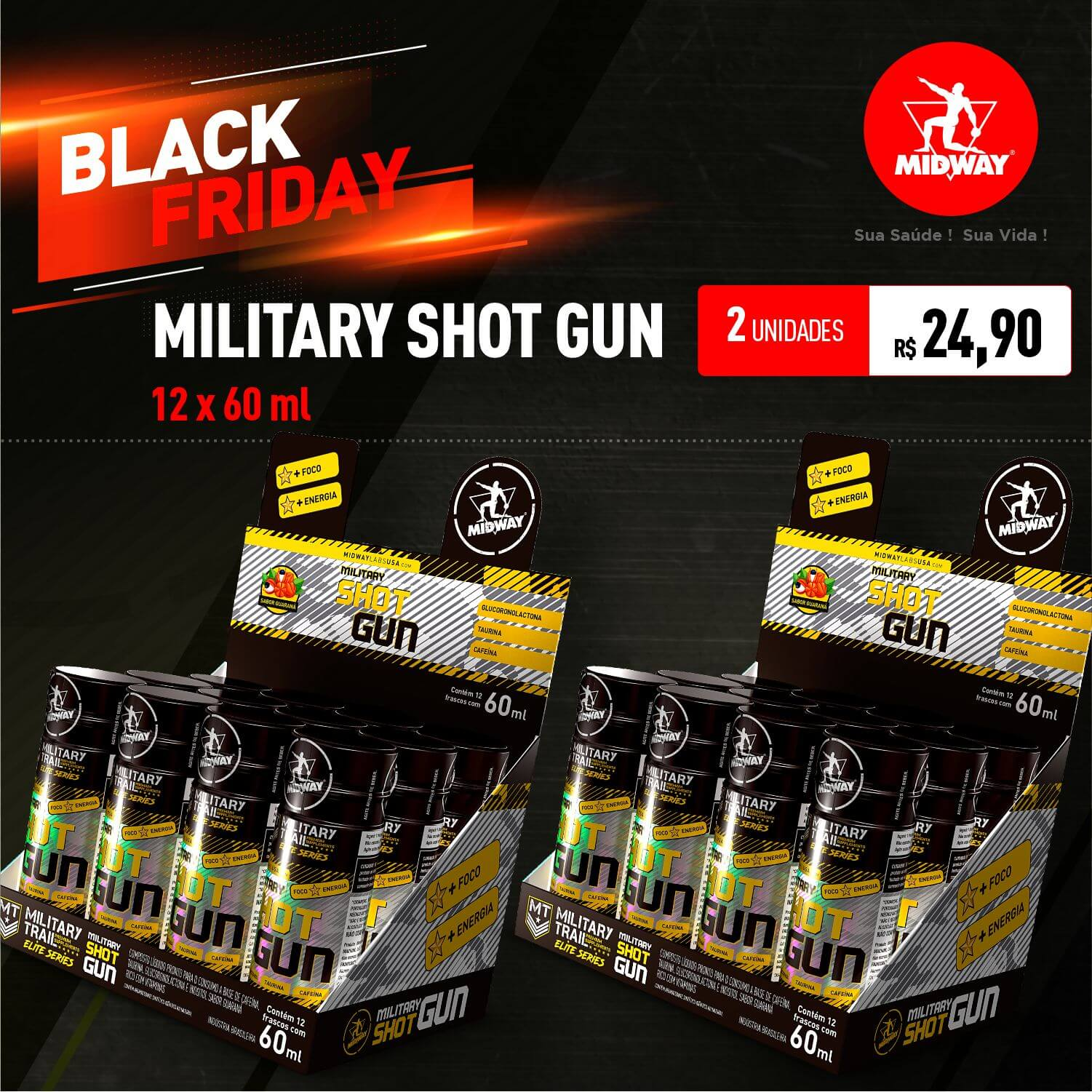 Kit 2 Military Shot Gun • 12 x 60 ml • Black Friday