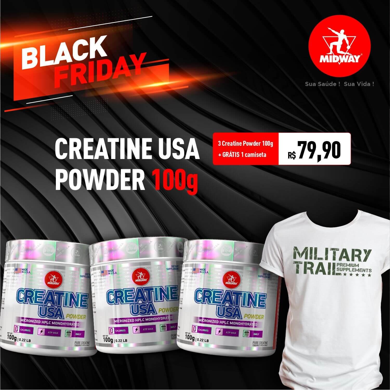 Kit 3 Creatine USA Powder + Grátis 1 camiseta • Black Friday